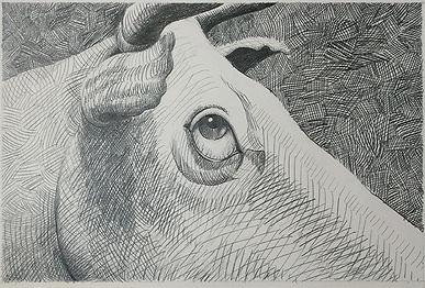 """Cattle Cutters"" (Detail), Pencil"