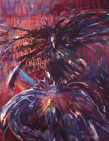 """""""Cock Fight"""", Pastel"""