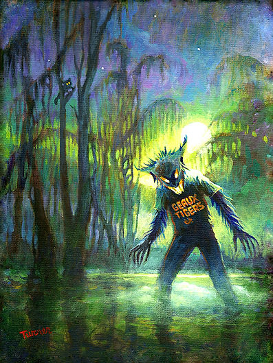 Rougarou the Cajun werewolf. Acrylic painting by John Turner, New Orleans.
