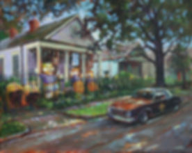 Enthusiast's_House_on Burdette Street with Saintmobile parked out front. Acrylic painting by John Turner artist.