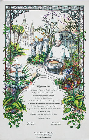 Menu, Executive Chefs Conference, New Orleans, Ink and Watercolor