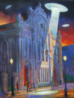 Ascension of Big Freedia, New Orleans, acrylic painting by John Turner