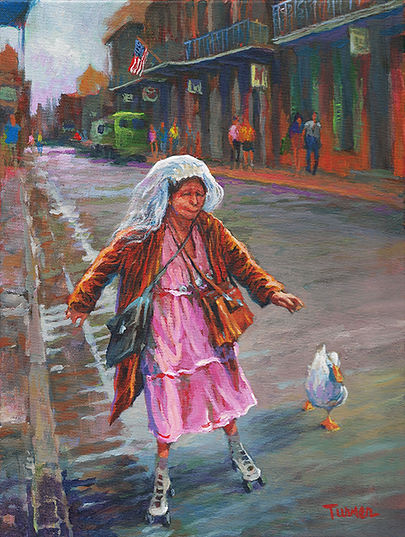 Ruthie the Duck Girl, New Orleans, Acrylic Painting by John Turne