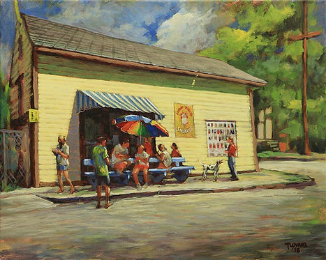 Plum Street Sno-ball stand, New Orleans, Acrylic painting by John Turner