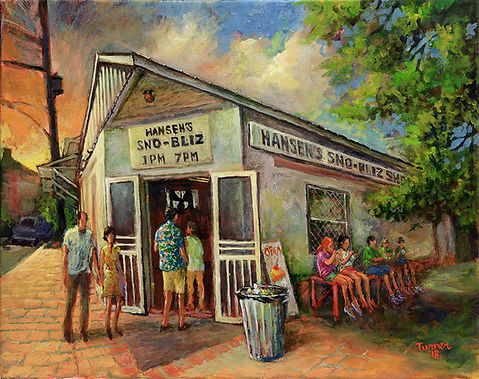 Hansen's Sno-ball stand, New Orleans, Acrylic painting by John Turner