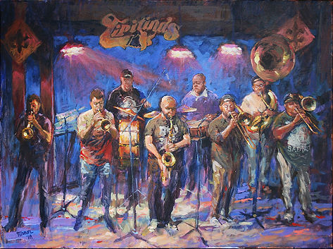 Soul Rebels, Tipitina's, New Orleans, Acrylic painting by John Turner