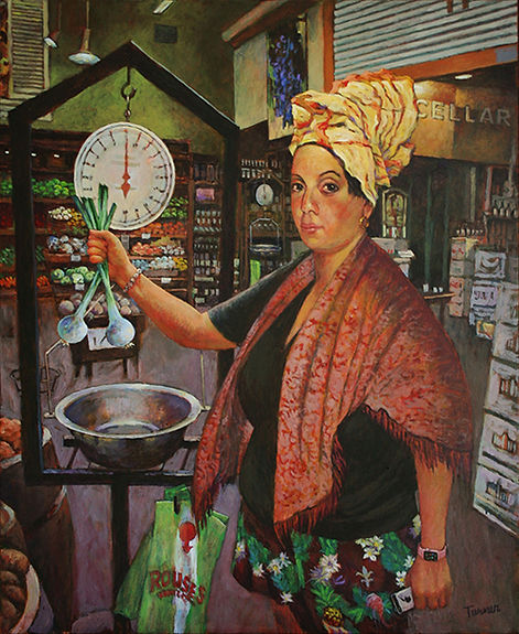 Marie Laveau Making Groceries at Rouses, acrylic painting by John Turner New Orleans