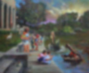 """Children Feeding Alligators in City Park"", Acrylic Painting by John Turner."