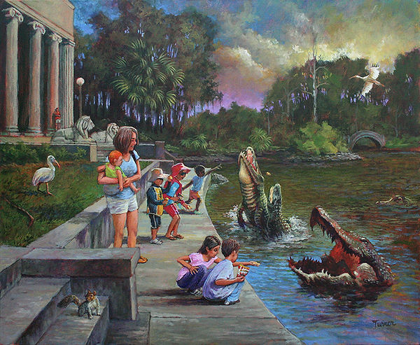 """Children Feeding Alligators in City Park"", Acrylic Painting by John Turner."