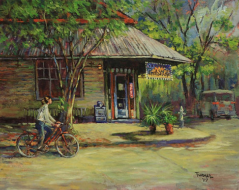 Panola Street Cafe, New Orleans, Acrylic painting by John Turner