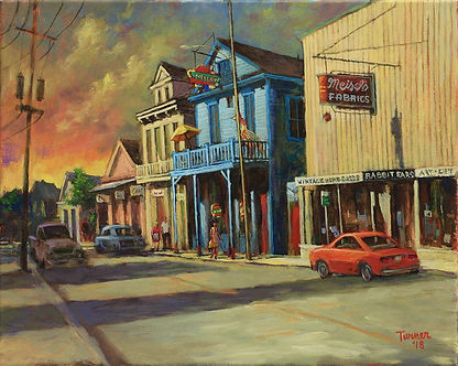 Oak Street, New Orleans, Acrylic Painting, by John Turner