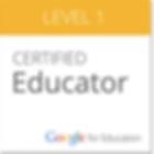 Certified Level 1 Google Educator badge.