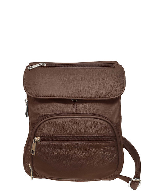 Brown Compact Leather Concealment Backpack Front Side