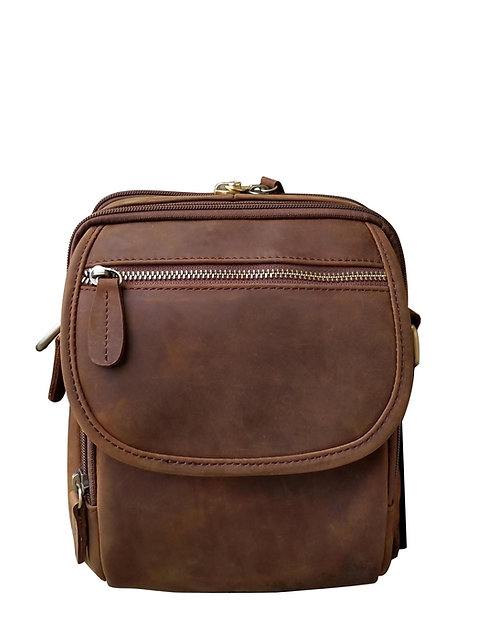 Brown Wax and Oiled Leather Concealment Crossbody Bag Front Side