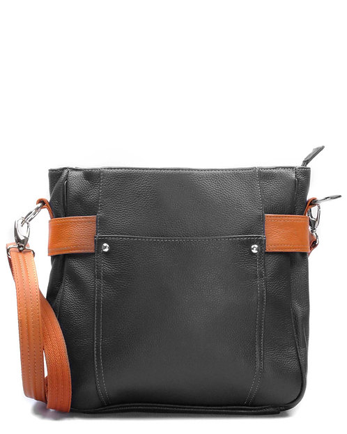 Black Satchel Leather Concealment Crossbody Bag Front View