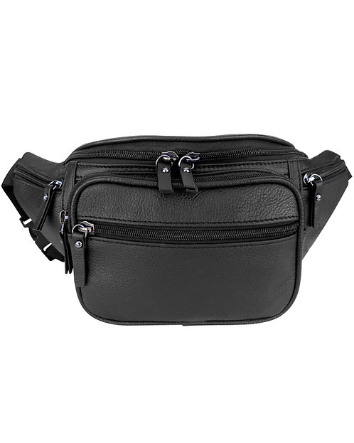 Multi Zipper Leather Fanny Pack