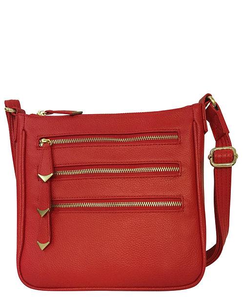 Red Triple Zipper Crossbody Concealment Bag Front View