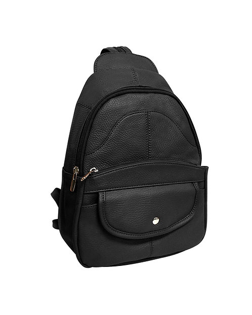 Snap Front Leather Backpack