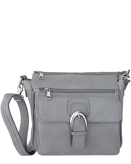 Gray Buckle Front Leather Concealment Crossbody Bag Front View
