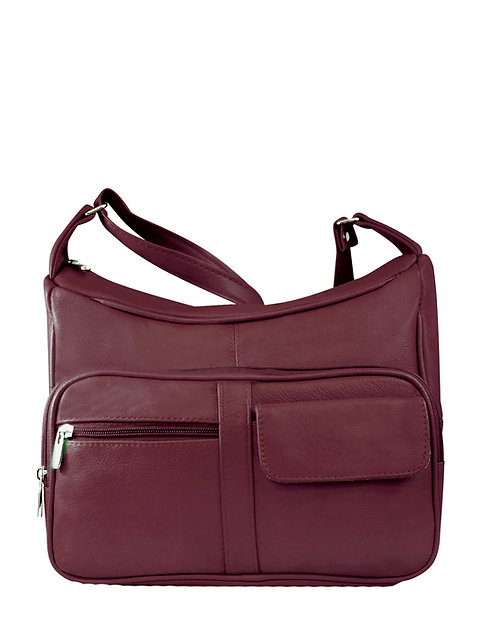 Wine Multi Pocket Leather Concealment Crossbody Bag Front View