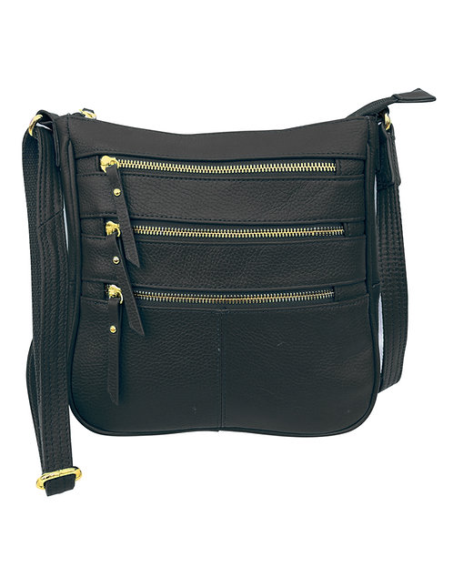 Triple Zipper Leather Concealment Crossbody Bag