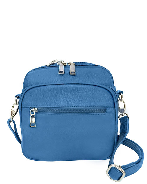 Blue Square Leather Concealment Crossbody Bag Front View