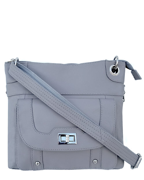 Gray Essential Leather Concealment Crossbody Bag Front View