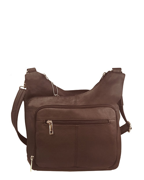 Brown Cross Panel Leather Concealment Crossbody Bag Front View