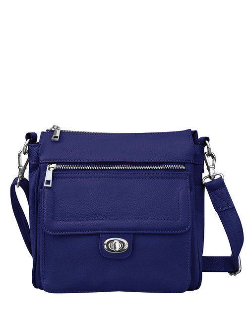 Blue Leather Crossbody Concealment Bagwith Front Pocket