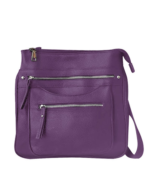 Triple Zip Pocket Concealment Crossbody Bag