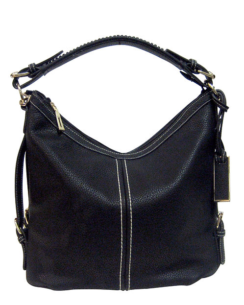 Black Boho Leather Concealment Tote Front View