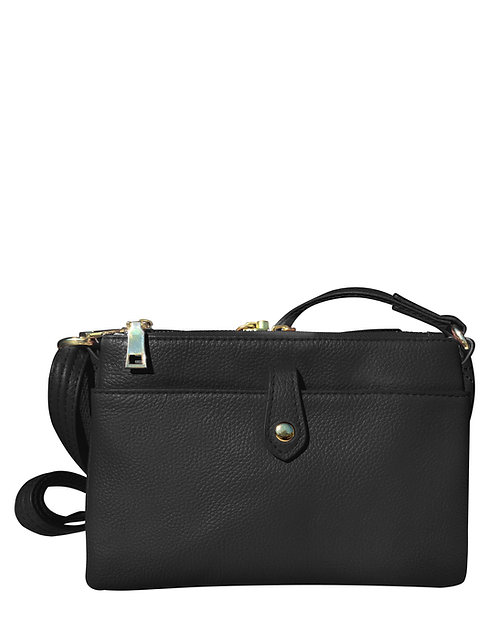 Black Leather Compact Bag Front View