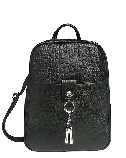 Black Cowhide Leather Backpack Front View