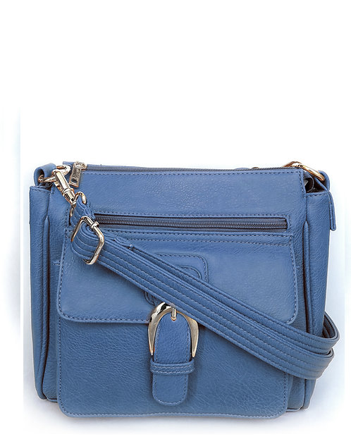Blue Buckle Front Concealment Crossbody Bag with Cell Phone Pocket Front View