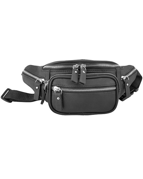 Metal Zip Leather Fanny Pack
