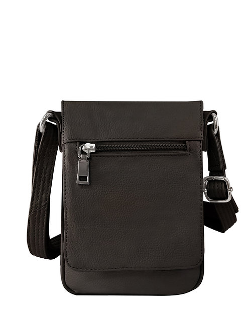 Black Vertical Leather Concealment Crossbody Bag Front View
