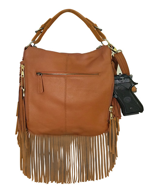 Tan Leather Fringe Crossbody Concealment Bag Front View