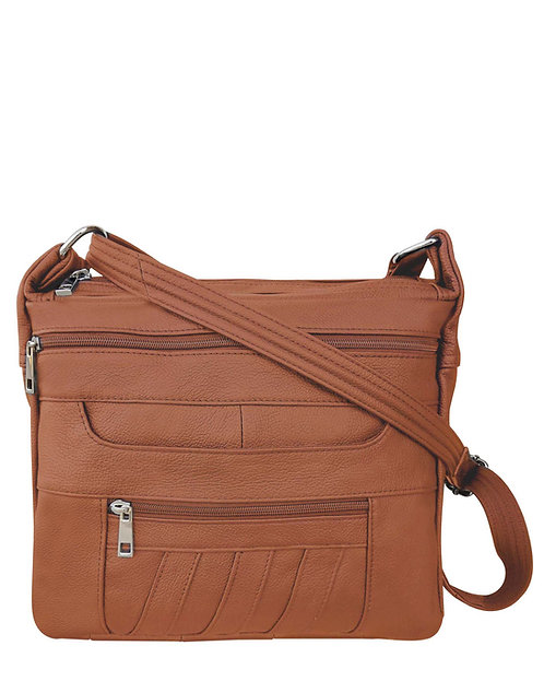 Light Brown Patch Leather Concealment Crossbody Bag Front View
