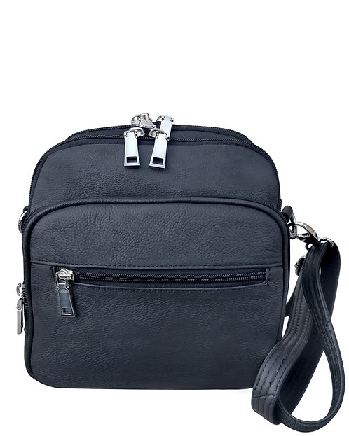 Black Square Leather Concealment Crossbody Bag Front View