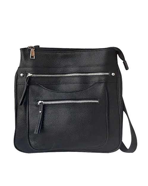 Triple Zip Pocket Concealment Crossbody Bag