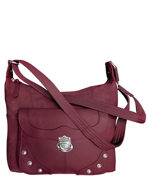 Wine Studded Leather Concealment Crossbody Bag Front View