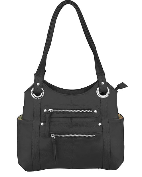 Black Dual Zipper Moto Leather Concealment Tote Front View