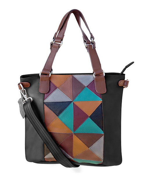 Quilted Patch Leather Tote Bag