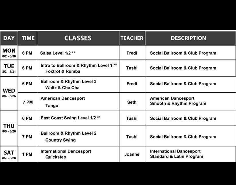 Dance Arts Ballroom August 2021 Monthly