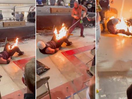 Video: luchador sufrió quemaduras en la ingle al salir mal un truco de combate con fuego