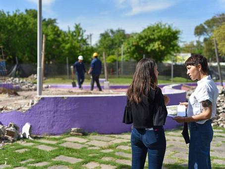 Mayra Mendoza destacó la puesta en valor de la Plaza Suiza de Barrio Parque Bernal
