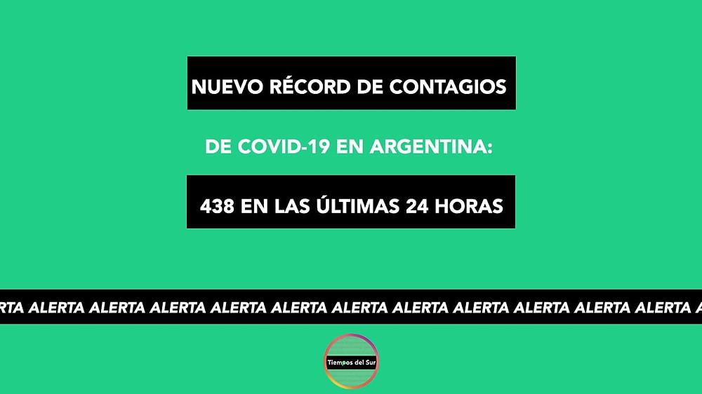 Nuevo récord de contagios de COVID-19 en Argentina: 438 en las últimas 24 horas