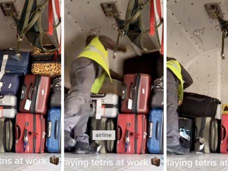 """Un trabajador de aeropuerto revela el complicado """"juego de tetris"""" que enfrentan al apilar valijas"""