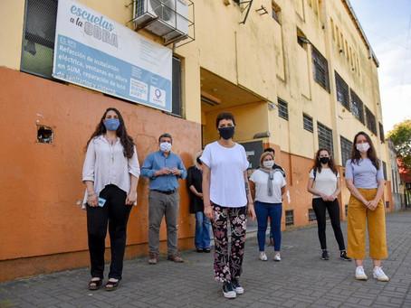 Mayra supervisó las obras de la Escuela Secundaria Nº 3 de Quilmes Oeste
