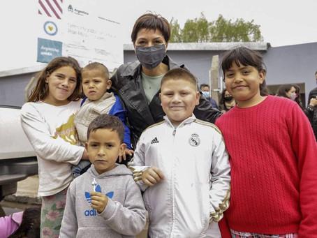 Mayra recorrió la obra de ampliación del Centro Integrador Comunitario Monte Matadero